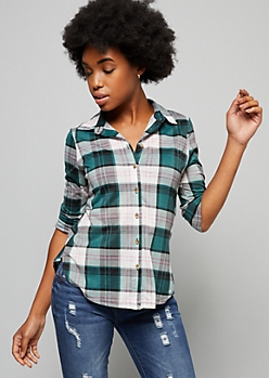 Green Plaid Print Button Down Fitted Shirt