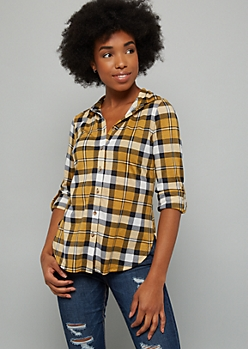 Mustard Plaid Print Button Down Fitted Shirt