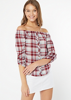 Burgundy Plaid Off The Shoulder Roll Tab Top