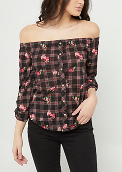 Floral Plaid Print Off Shoulder Button Top