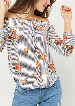 White Stripe Floral Print Tie Front Button Top