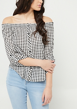 Black Gingham Off Shoulder Button Top