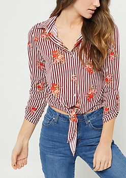 Red Striped Floral Print Tie Front Top