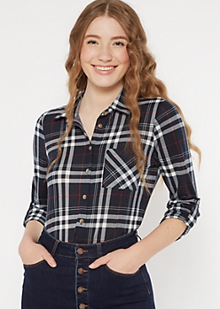 Dark Navy Plaid Print Pocket Shirt