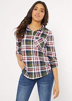 Green Plaid Print Pocket Shirt