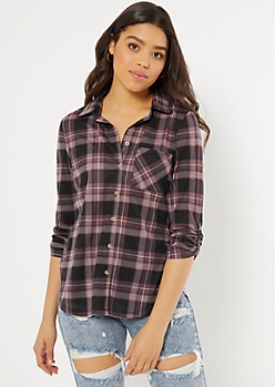 Purple Plaid Print Pocket Shirt
