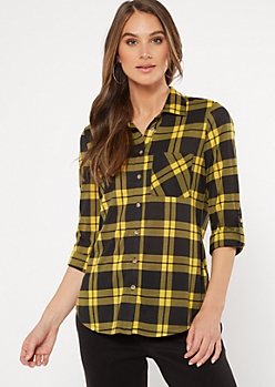 Yellow Plaid Print Pocket Shirt