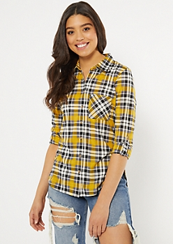 Mustard Plaid Print Pocket Shirt