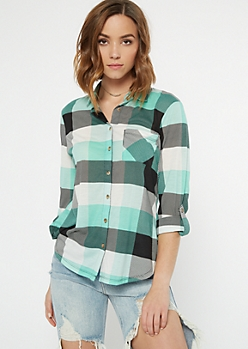 Mint Plaid Print Pocket Shirt