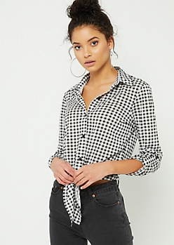 Black Plaid Print Tie Front Button Top