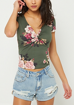 Olive Floral Print Twist Front Tee