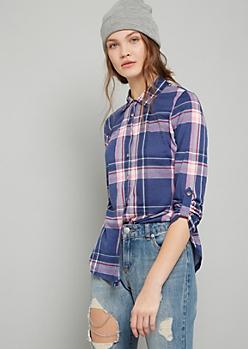 Blue Plaid Print Button Down Shirt