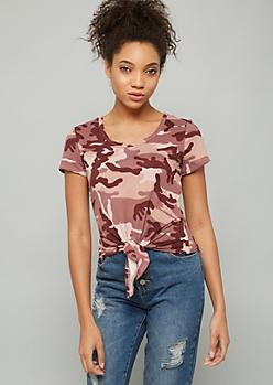 Pink Camo Print Super Soft Tie Front Tee