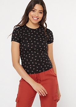 Black Floral Ribbed Knit Lace Trim Top