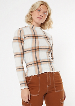 Tan Plaid Mock Neck Lettuce Edge Fitted Sweater