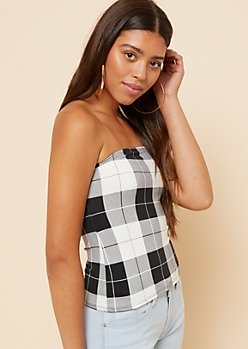 Ivory Plaid Pattern Super Soft Cropped Tube Top
