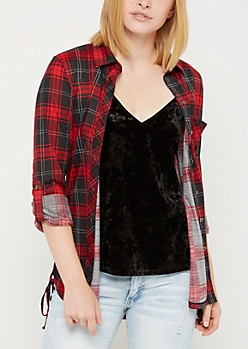 Red Plaid Print Lace Up Side Shirt