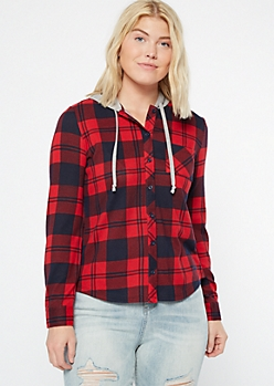 Red Plaid Print Hooded Shirt