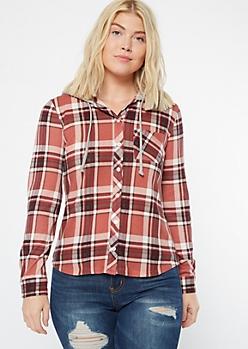 Pink Plaid Print Hooded Shirt