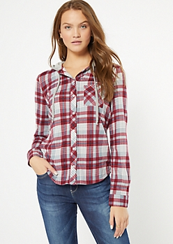 Burgundy Plaid Print Hooded Shirt