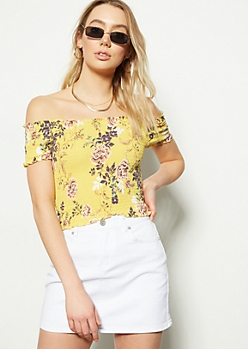 16eb4b94e0a7 Yellow Floral Print Off The Shoulder Smocked Crop Top