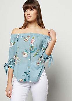 Blue Floral Print Off The Shoulder Button Down Shirt
