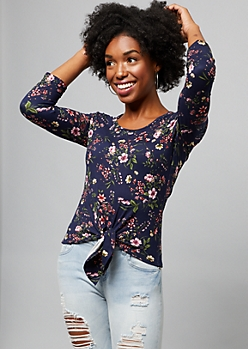 Navy Floral Print Tie Front Elbow Sleeve Tee