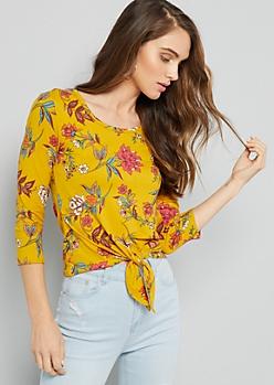 Mustard Floral Print Tie Front Elbow Sleeve Tee