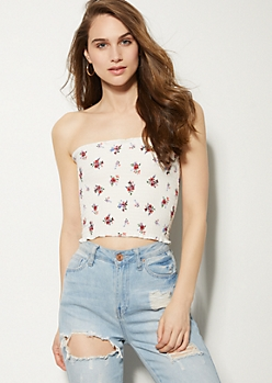Ivory Floral Print Smocked Cropped Tube Top