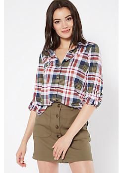 Green Plaid Print Button Down Shirt