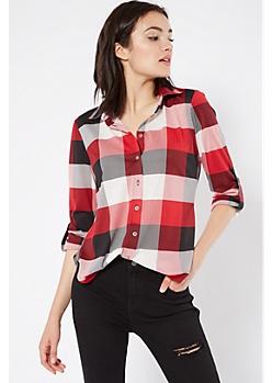 Red Striped Plaid Print Button Down Shirt