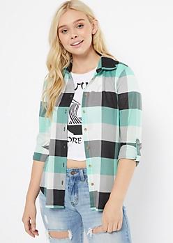 Teal Plaid Print Button Down Shirt