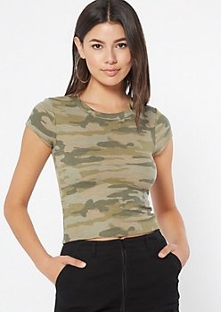 Camo Print Shrunken Thermal Tee