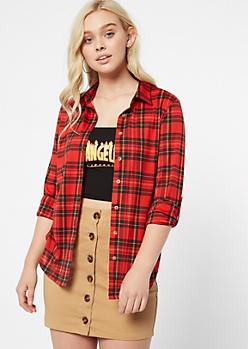 Red Plaid Print Button Down Shirt