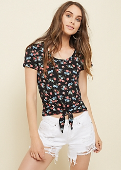 Black Ditzy Floral Print Super Soft Tie Front Tee