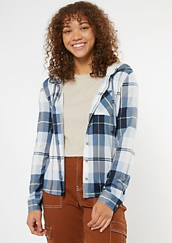 Blue Plaid Sherpa Lined Hooded Shirt