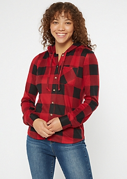Red Buffalo Plaid Sherpa Lined Hooded Shirt