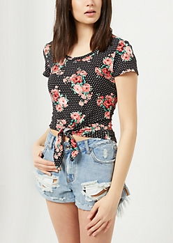 Black Dotted Floral Print Super Soft Tie Tee