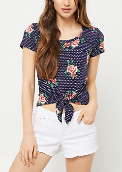 Navy Dotted Floral Print Super Soft Tie Tee