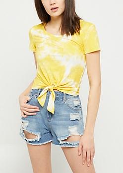 Yellow Tie Dye Print Super Soft Tie Tee