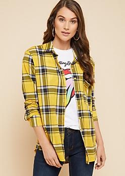 Yellow Plaid Print Button Down Single Pocket Shirt