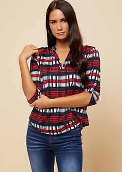 Red Plaid Print Roll Tab Sleeve V Neck Shirt