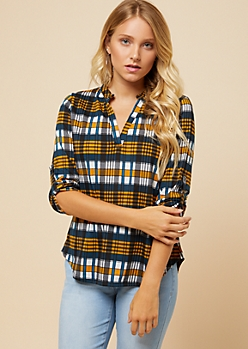 Mustard Plaid Rolled Tab Sleeve V Neck Shirt