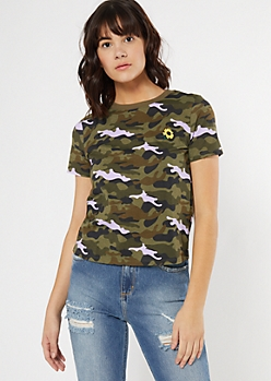 Lavender Camo Print Sunflower Embroidered Tee