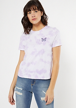 Purple Tie Dye Butterfly Embroidered Tee