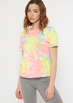Pastel Neon Rainbow Tie Dye Tee