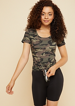 Camo Print Tie Front Super Soft Fitted Tee