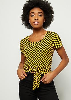 Mustard Checkered Print Super Soft Tie Front Tee