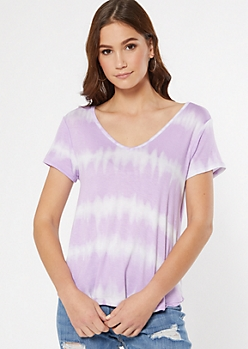 Purple Tie Dye V Neck Favorite Tee