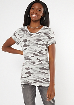 Gray Camo Print Scoop Neck Favorite Tee